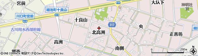 愛知県西尾市細池町(北高洲)周辺の地図