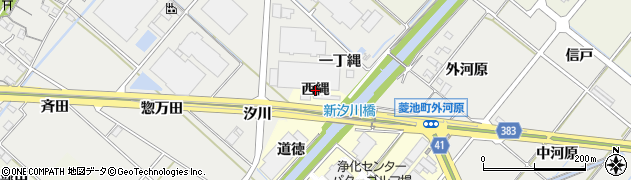 愛知県西尾市長縄町(西縄)周辺の地図