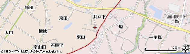 愛知県豊川市金沢町(東山)周辺の地図