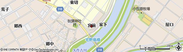 愛知県西尾市宅野島町(宮前)周辺の地図
