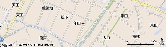 愛知県豊川市金沢町(年田)周辺の地図