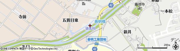 愛知県西尾市善明町(琵琶島)周辺の地図