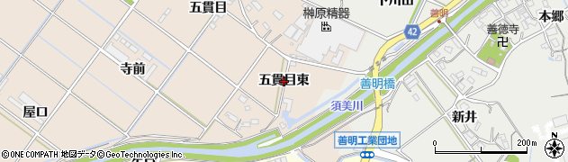 愛知県西尾市花蔵寺町(五貫目東)周辺の地図