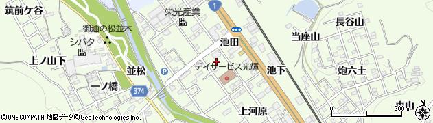 愛知県豊川市御油町(池田)周辺の地図