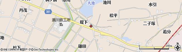 愛知県豊川市金沢町(堤下)周辺の地図
