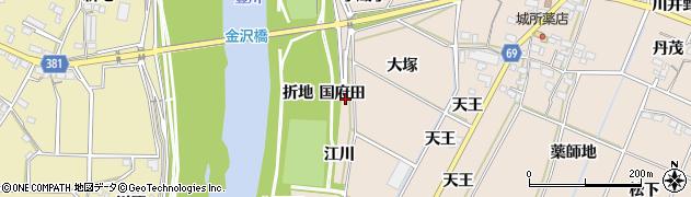 愛知県豊川市金沢町(国府田)周辺の地図