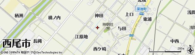 愛知県西尾市深池町周辺の地図