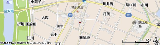 愛知県豊川市金沢町(薬師地)周辺の地図