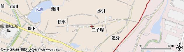 愛知県豊川市金沢町(二子塚)周辺の地図