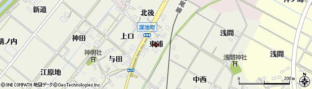 愛知県西尾市深池町(東浦)周辺の地図