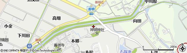 愛知県西尾市善明町(宮下)周辺の地図