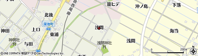 愛知県西尾市川口町(浅間)周辺の地図