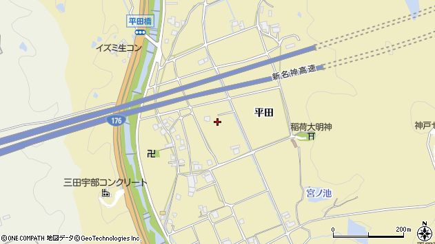 〒651-1504 兵庫県神戸市北区道場町平田の地図