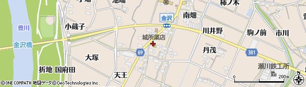 愛知県豊川市金沢町(丸海道)周辺の地図