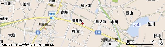 愛知県豊川市金沢町(川井野)周辺の地図