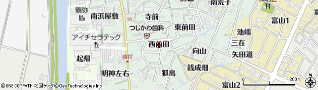 愛知県西尾市楠村町(西前田)周辺の地図