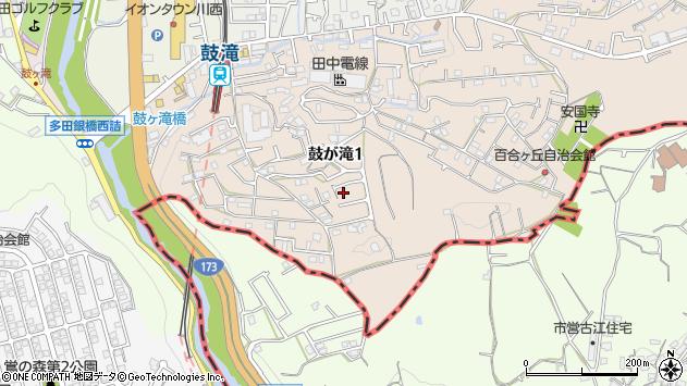 〒666-0123 兵庫県川西市鼓が滝の地図