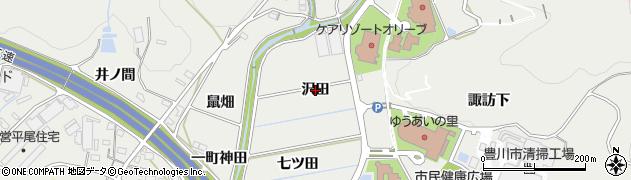 愛知県豊川市平尾町(沢田)周辺の地図