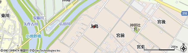 愛知県西尾市花蔵寺町(上島)周辺の地図