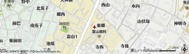 愛知県西尾市富山町周辺の地図