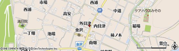 愛知県豊川市金沢町(外貝津)周辺の地図