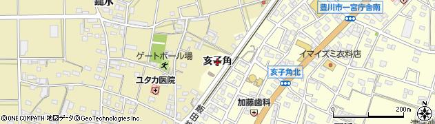 愛知県豊川市一宮町(亥子角)周辺の地図