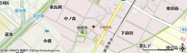 愛知県西尾市矢曽根町(一本木)周辺の地図