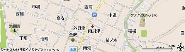 愛知県豊川市金沢町(内貝津)周辺の地図