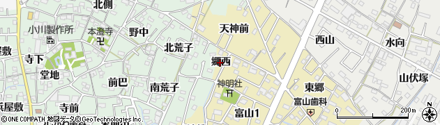 愛知県西尾市富山町(郷西)周辺の地図