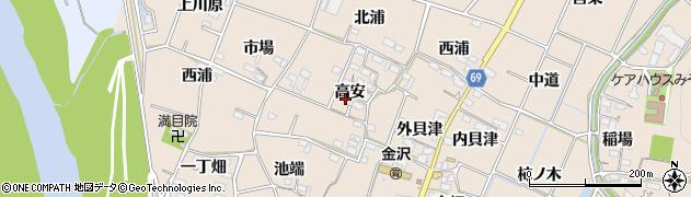 愛知県豊川市金沢町(高安)周辺の地図