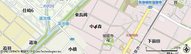愛知県西尾市矢曽根町(中ノ森)周辺の地図