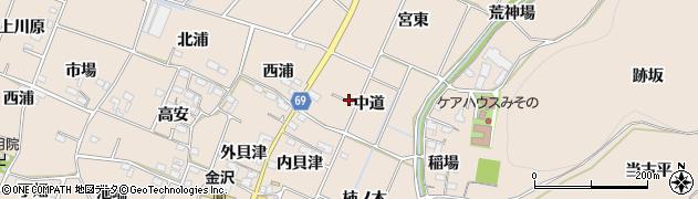 愛知県豊川市金沢町(中道)周辺の地図