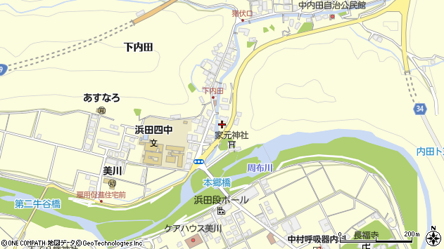 〒697-1323 島根県浜田市内田町(その他)の地図