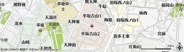愛知県西尾市平坂吉山周辺の地図