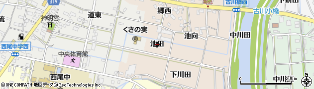 愛知県西尾市寄近町(池田)周辺の地図