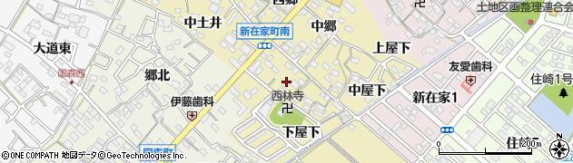 愛知県西尾市新在家町(南郷)周辺の地図