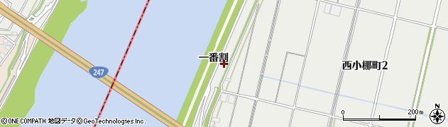 愛知県西尾市西小梛町(一番割)周辺の地図