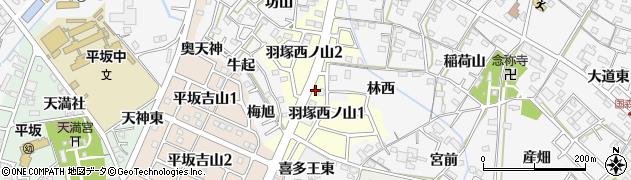 愛知県西尾市羽塚西ノ山周辺の地図
