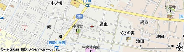 愛知県西尾市丁田町(道東)周辺の地図