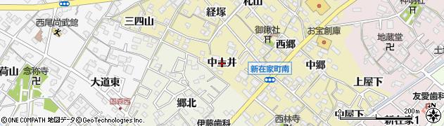 愛知県西尾市新在家町(中土井)周辺の地図