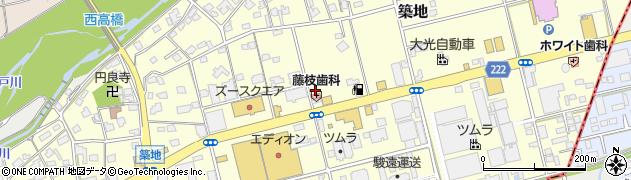 静岡県藤枝市築地周辺の地図