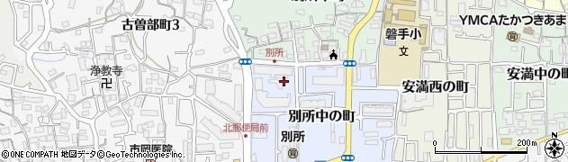 大阪府高槻市別所中の町周辺の地図