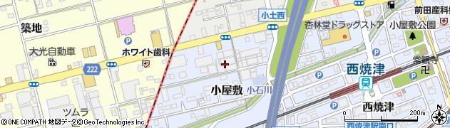静岡県焼津市小屋敷周辺の地図