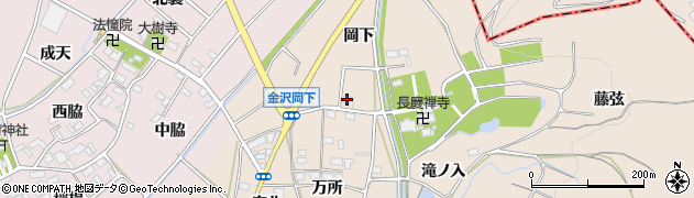 愛知県豊川市金沢町(岡下)周辺の地図