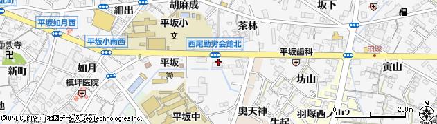 愛知県西尾市平坂町(烏多)周辺の地図