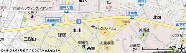 愛知県西尾市新在家町(村北)周辺の地図