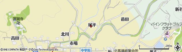 愛知県新城市中宇利(尾平)周辺の地図