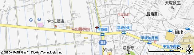 愛知県西尾市平坂町(山下谷)周辺の地図