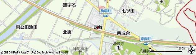 愛知県西尾市家武町(長台)周辺の地図