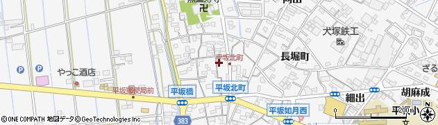 愛知県西尾市平坂町(北町)周辺の地図